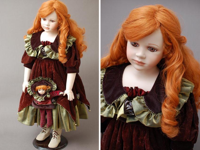 Большая рыжая кукла из фарфора