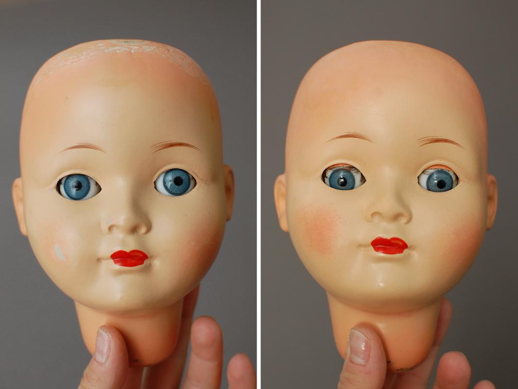 фотография ремонта композитной немецкой куклы Sonni