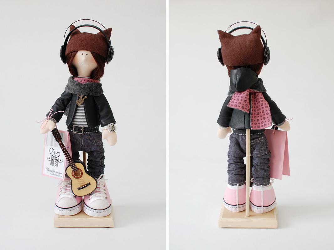 текстильная кукла большеножка снежка в подарок