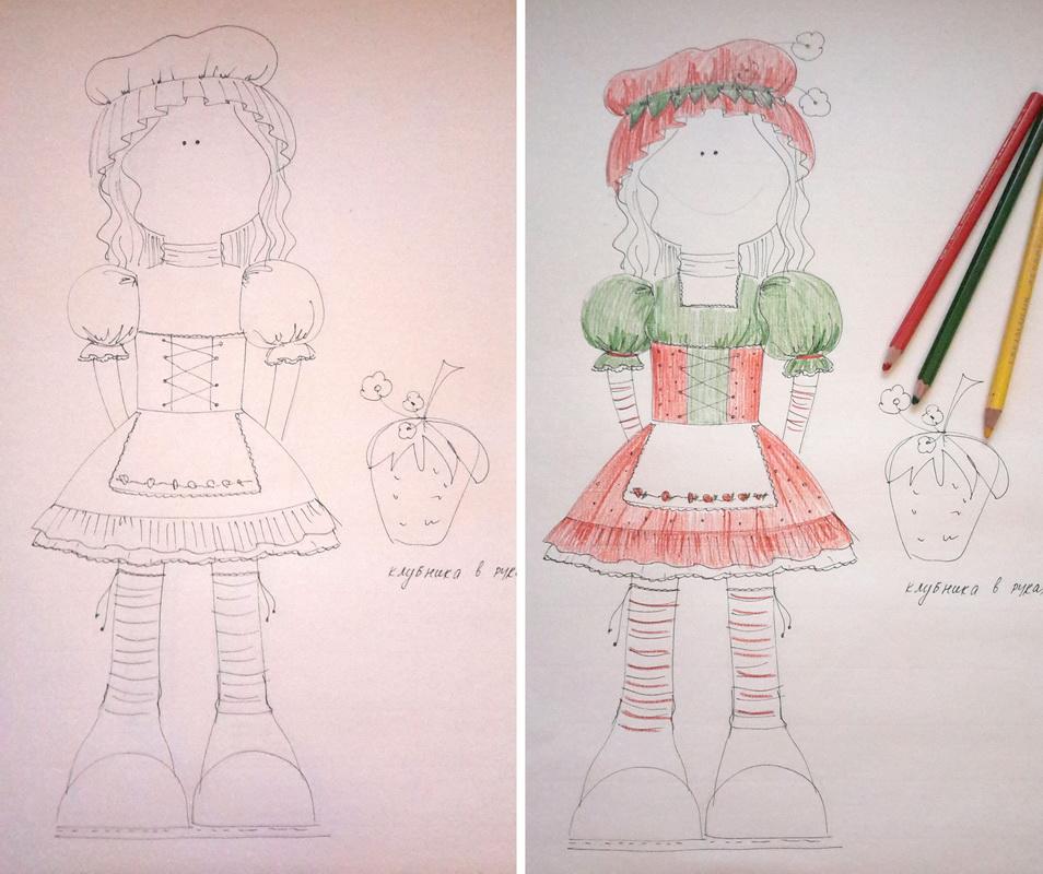 эскиз текстильной большеногой куклы