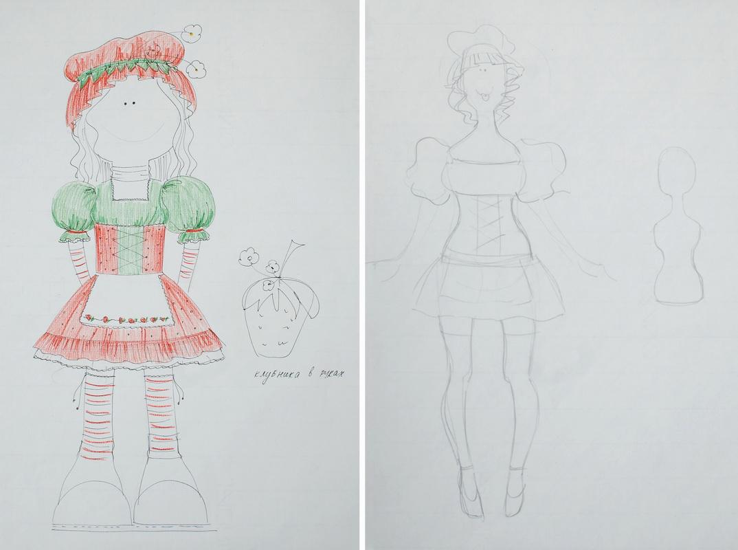эскиз авторской текстильной куклы