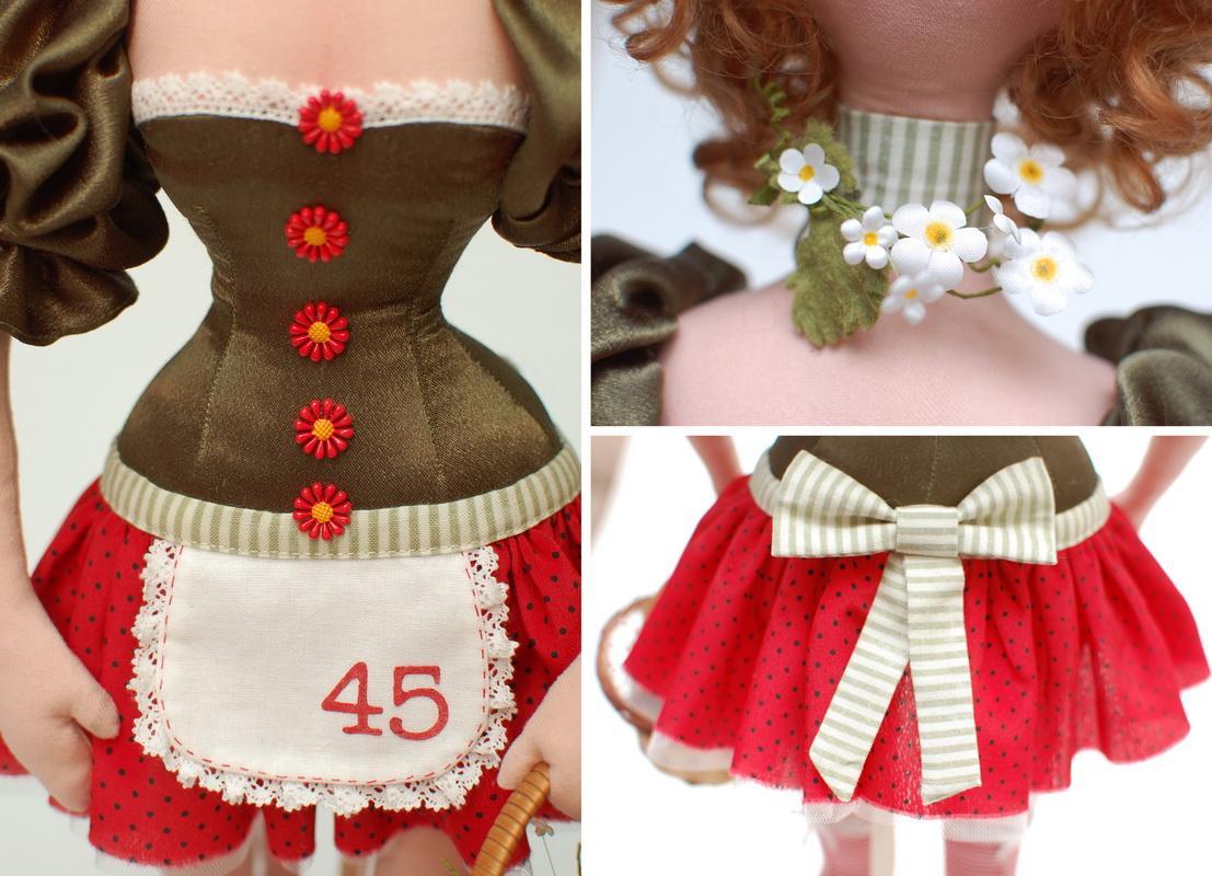текстильная кукла Василиса Клубничкина 13