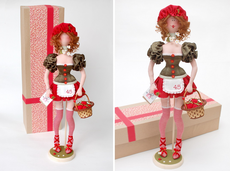 текстильная кукла Василиса Клубничкина 16