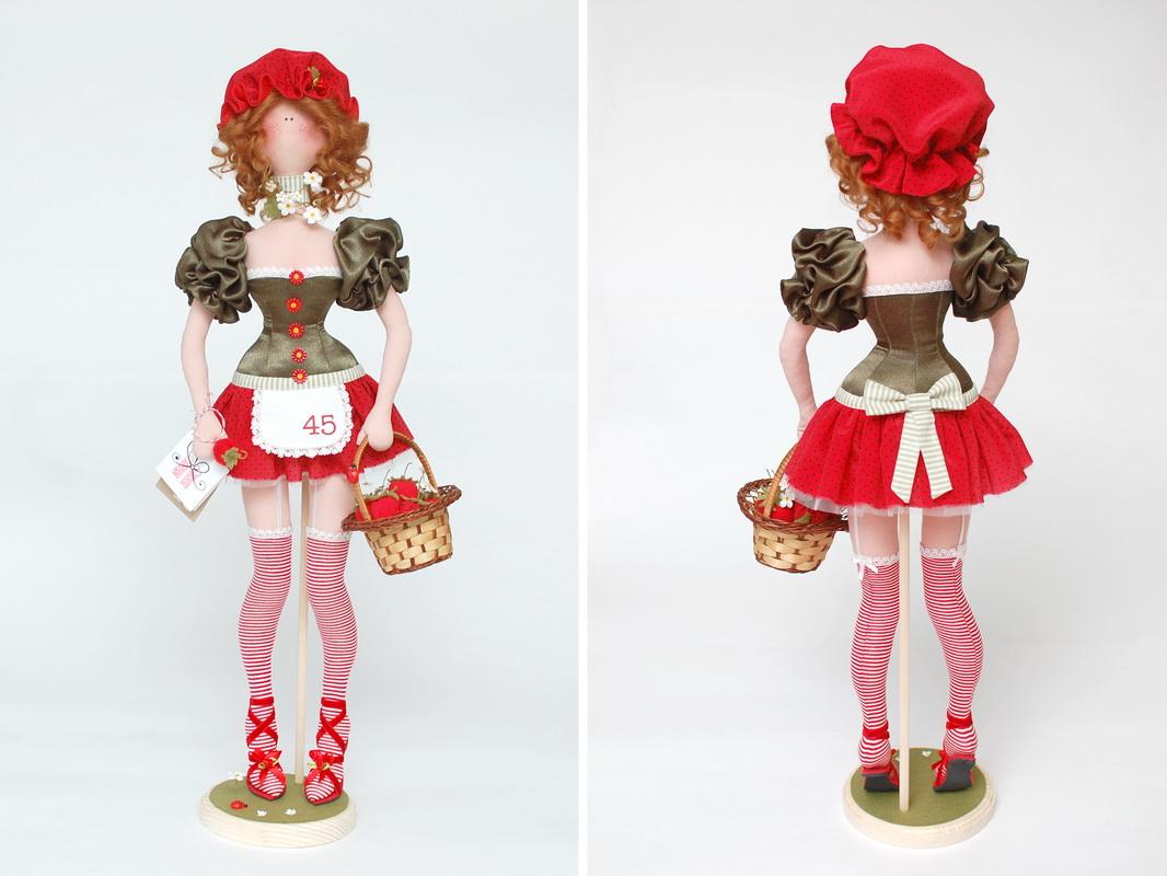 текстильная кукла клубничка