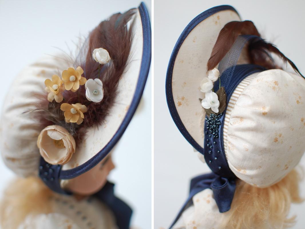 фотография шляпки для куклы с перьями, цветами, бисером