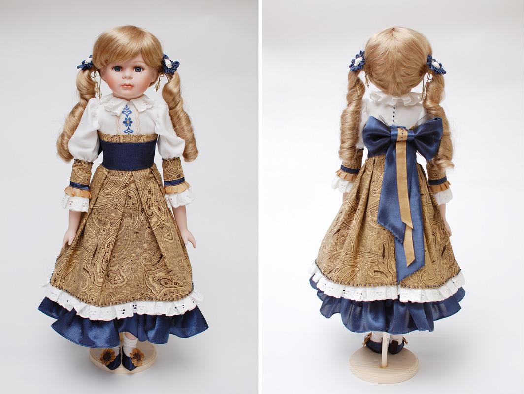 фарфоровая кукла костюм спереди и сзади
