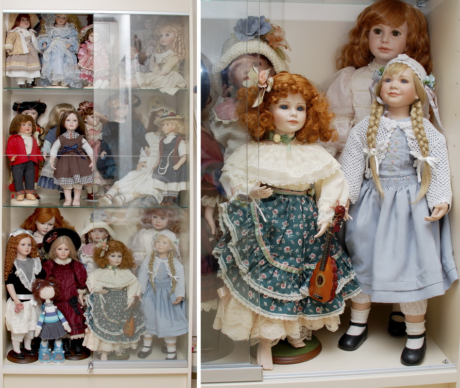 кукольная витрина с фарфоровыми куклами