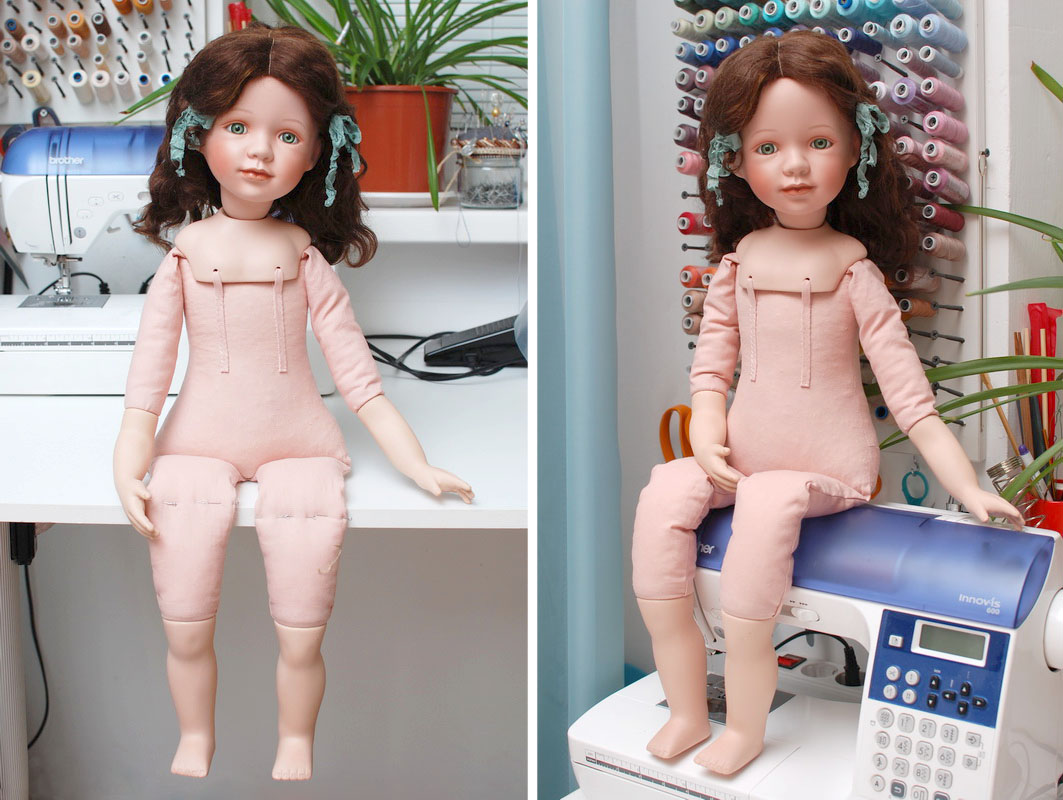 переделанная фарфоровая кукла с новым телом