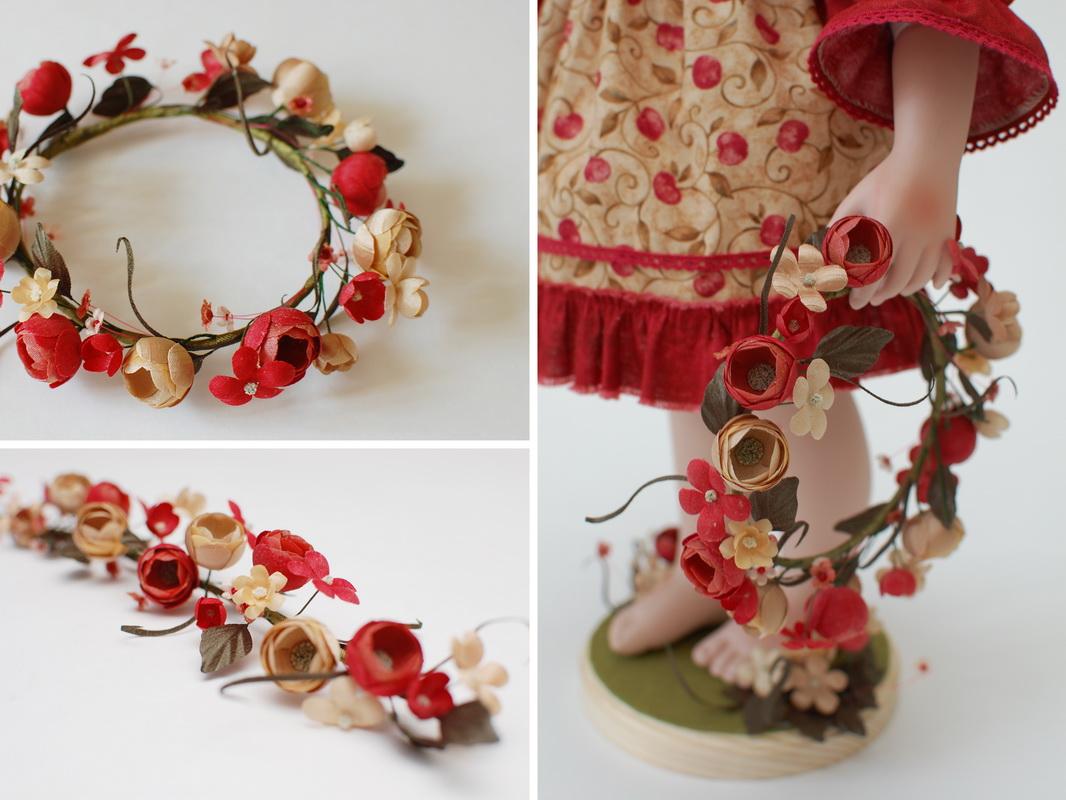 красивый венок для фарфоровой куклы Купавы из тканевых цветов