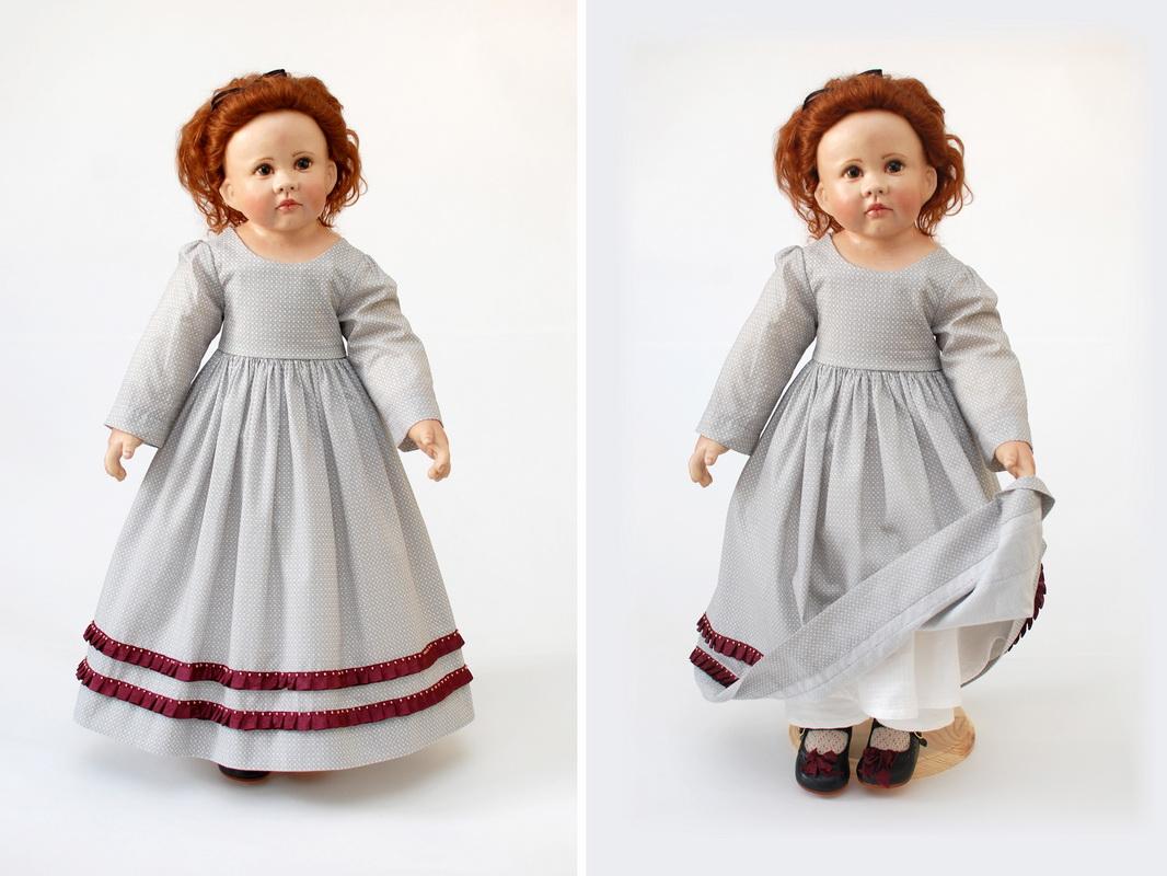серое платье для куклы