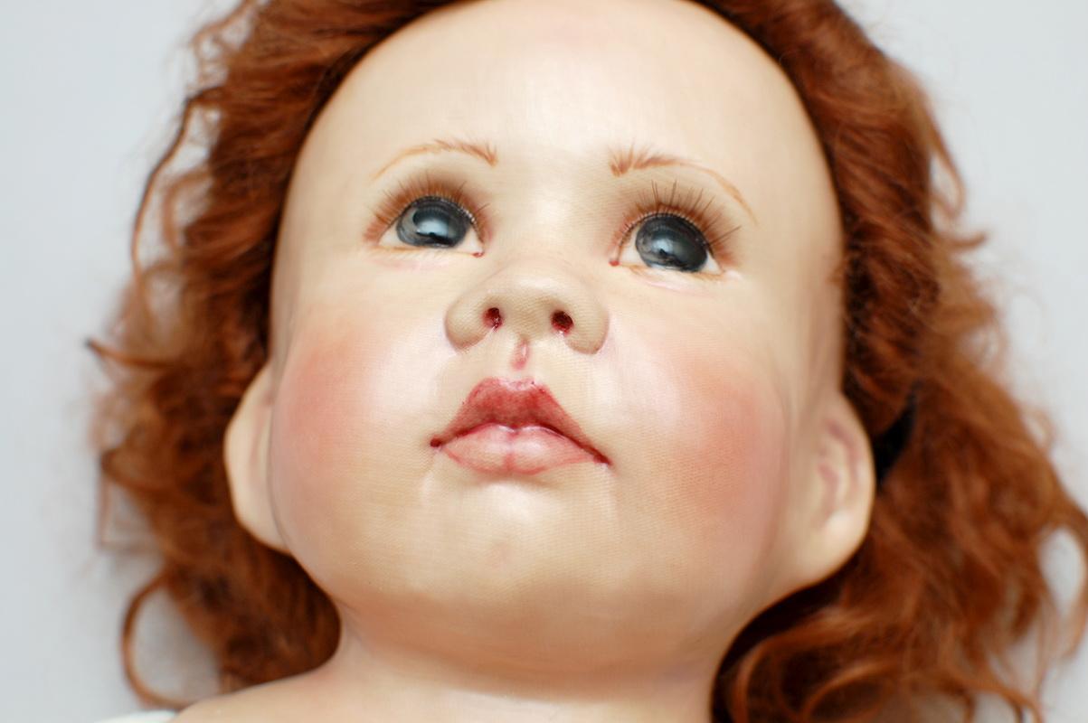 текстильная кукла в сложной технике от Linda Murray