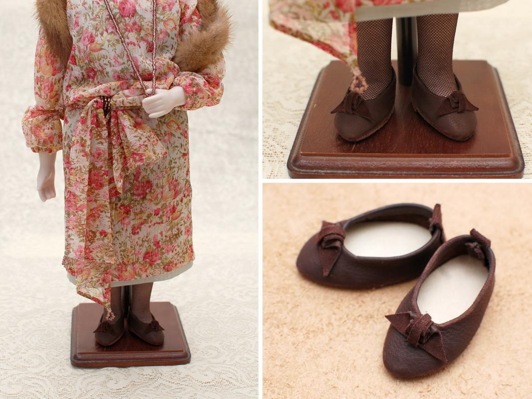 кожанная обувь для куклы ручной работы