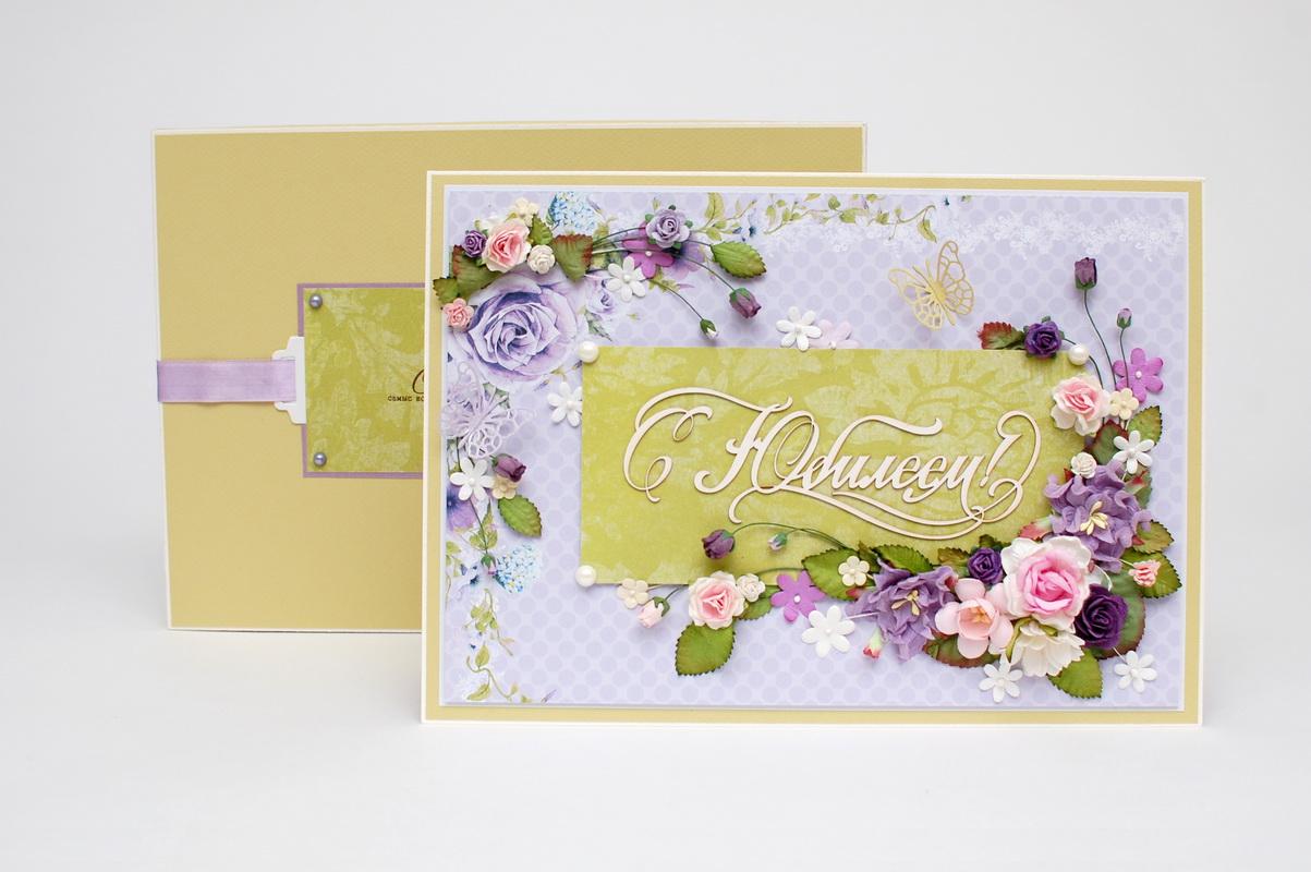 цветочная открытка ручной работы с юбилеем фото
