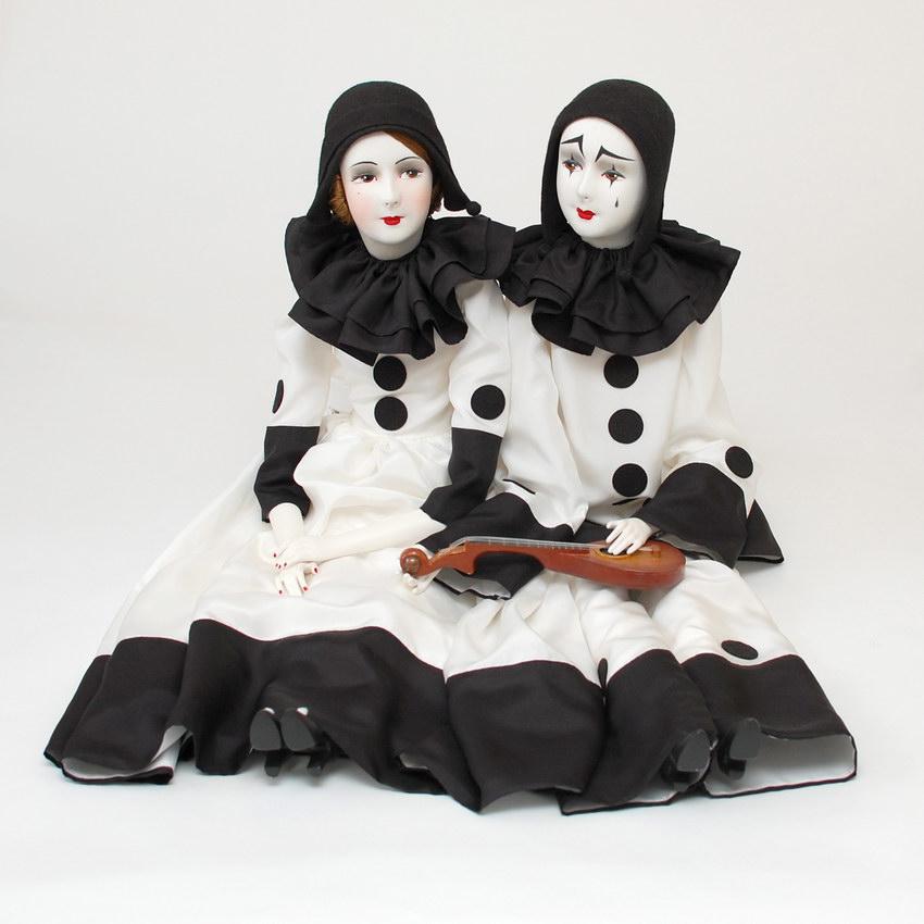 интерьерные будуарные куклы пьеро и пьеретта