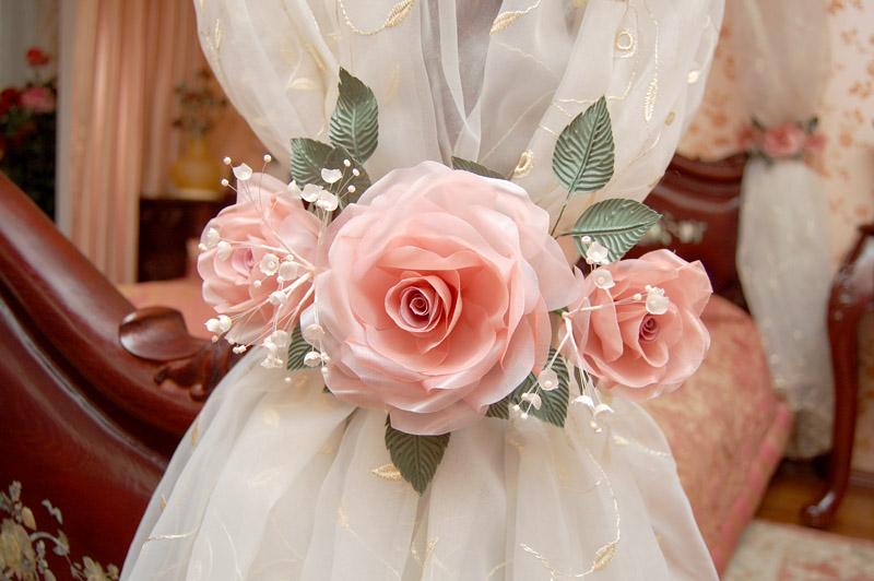 подхват для штор с цветами из ткани