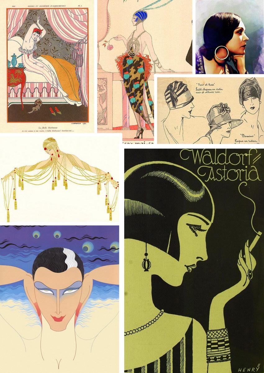 коллаж из иллюстраций в стиле 20-х