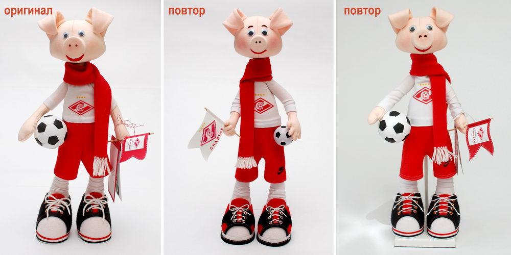 текстильная кукла с символикой спартака